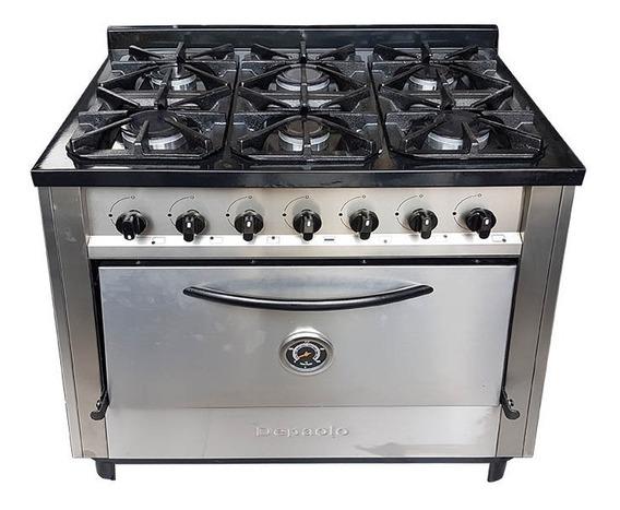 Cocina Industrial Depaolo 6 Hornallas 90 Cm Horno Pizzero