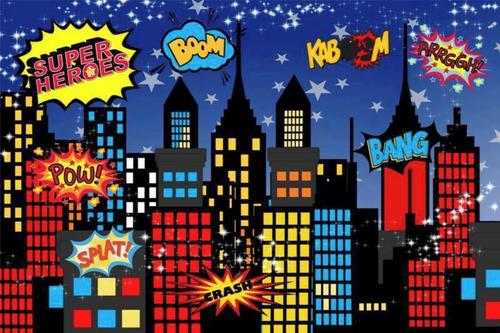Painel Lona E Saia Mesa Super Herois Cut Festa Aniversário