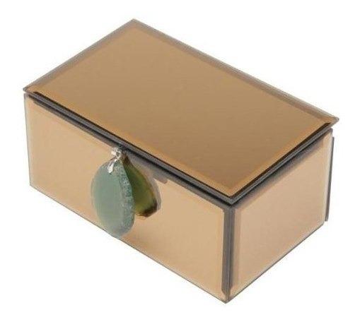 Porta-jóias De Madeira C/espelho C/puxador Verde 16x10x8cm
