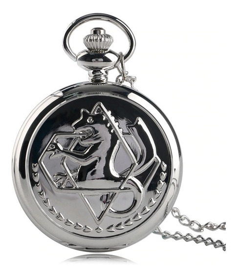 Relógio De Bolso Fullmetal Alchemist Prateado Cosplay Metal