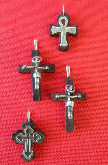 Dije Cruz Plata Madera Artesanal A Mano Cristo, Ankh Egipcio