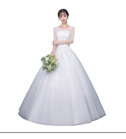 Vestido De Noiva Com Manga Longa Veu, Saiote, Luva 9047