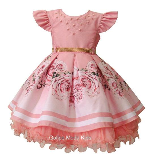 Vestido Floral Infantil Tamanhos 1 Ao 3