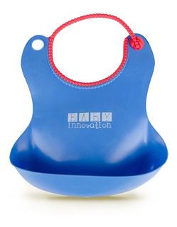 Babero Impermeable De Silicona Con Bolsillo Contenedor - Baby Innovation