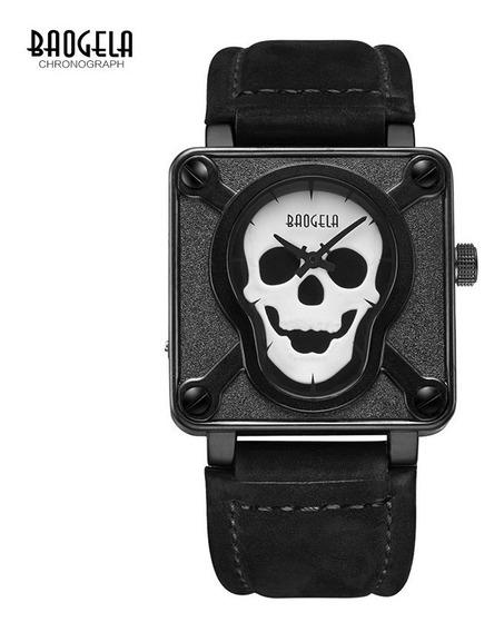 Relógio Baogela Pirata Skull Caveira Cranio Original Novo