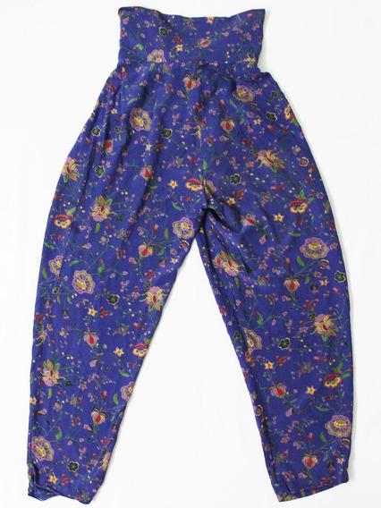 Pantalón Vintage De Seda Con Flores Cintura Ancha - Envios