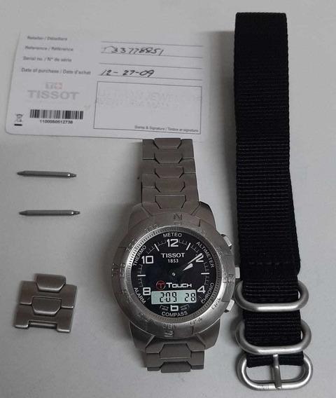 Relógio Tissot Touch Em Titânio + 1 Pulseira Tática
