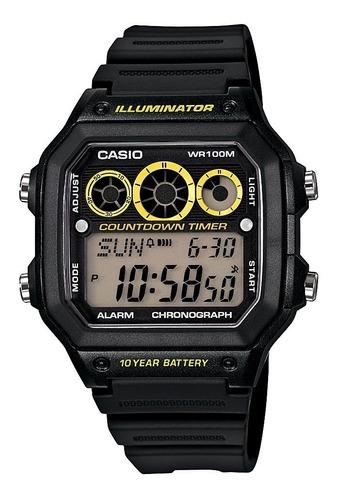 Reloj Casio Ae-1300wh-1a Temporizador-negro Original