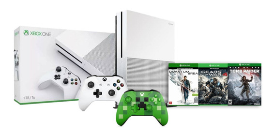 Console Xbox One S 1tb 4k 2 Controles 1 Minicraft E Kit Com 3 Jogos - Microsoft