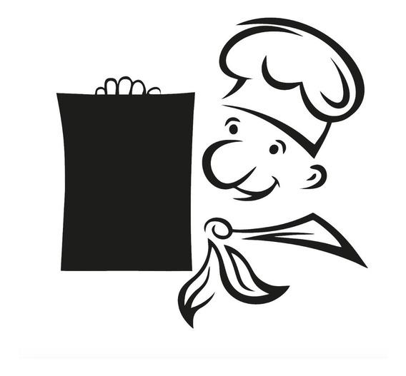 Adesivo Parede Cozinha Menu Chef Receitas Lousa Giz 70x70cm