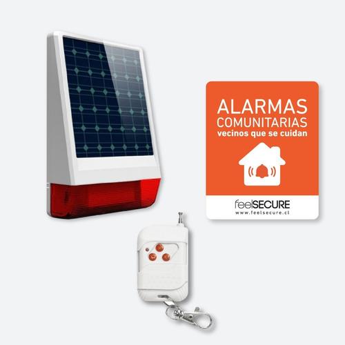 Kit Alarma Comunitaria Solar 10 Controles Placa Disuasiva