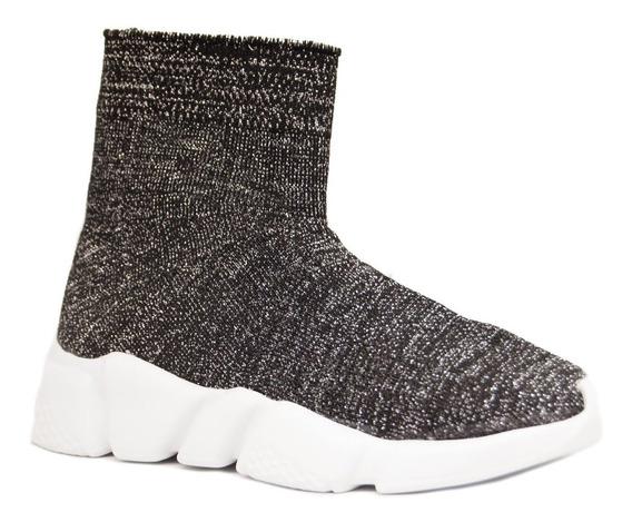 Zapatillas Mujer Tela Lurex Elastizada Negro Base Blanco