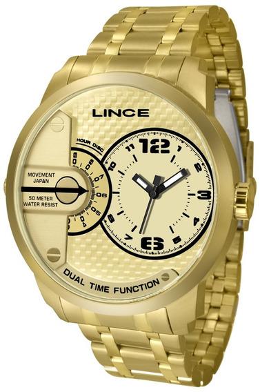 Relógio Masculino Dourado Lince Mrgh049s C2kx