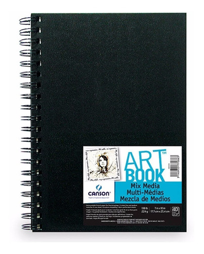 Caderno Sketch Book Mix Media Canson 17x25 40fls 224grs
