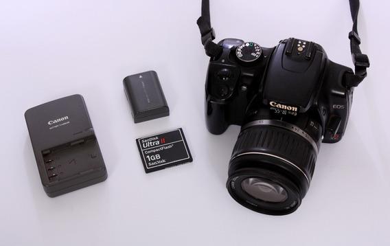 Eos Rebel Xti + 18-55mm + Carregador + Bateria + Cartão 1gb