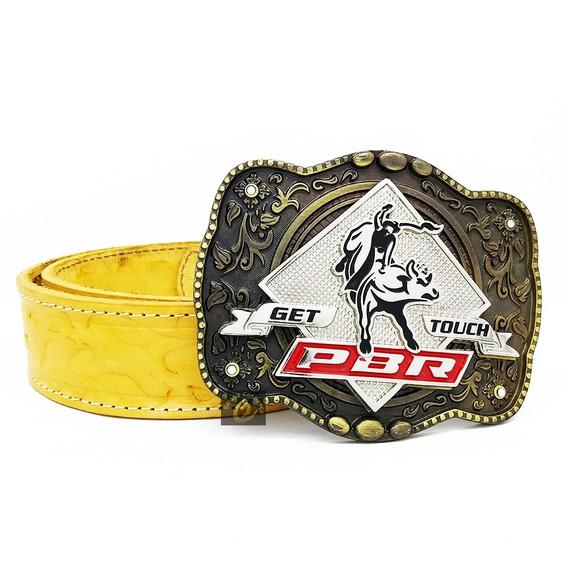 Fivela Cowboy Country Peao Top Luxo + Cinto Couro Legítimo