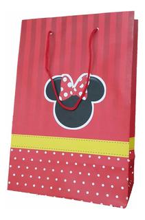 Sacola De Papel Minnie Vermelha 25x17x9cm - 30 Unidades