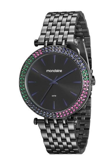 Relógio Mondaine Feminino Preto Cristais 99095lpmvpe2