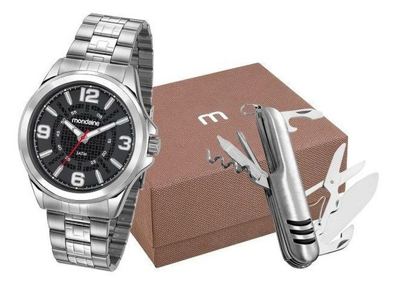 Kit Relógio Masculino Prateado Com Canivete Mondaine Em Aço 83419g0mvne1ka Garantia E Nota Fiscal
