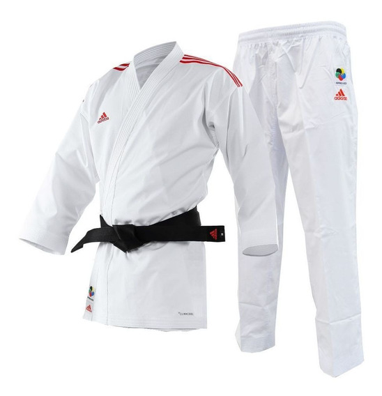 Kimono Karate adidas Adilight Branco Listras Vermelha-185
