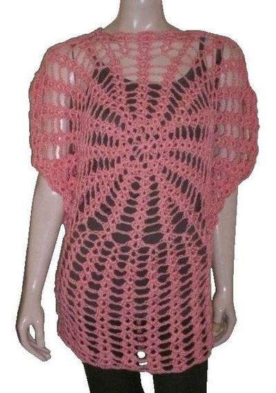 Camisola Remerón Túnica Vestido Crochet Hilo Mujer