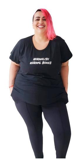 T-shirt Plus Size Wonder Size Estampa Normal Bodies Preta