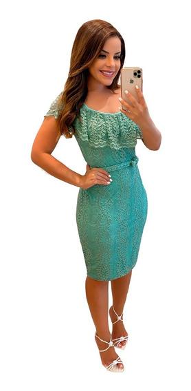 Vestido De Renda Festa Verde Moda Evangélica Lancamento