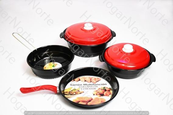 Set Juego Bateria De Cocina 6 Pzas Ollas Sarten Vitrificado