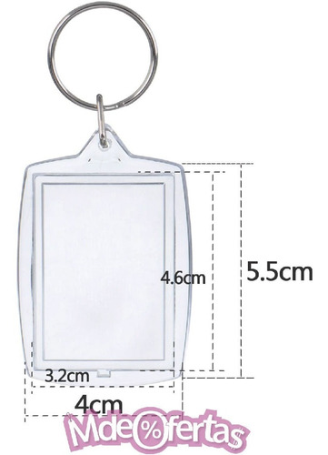 100 Llaveros Acrilico Transparente En Bolsitas 5 X 3,5  Cm