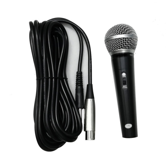 Microfone Com Fio Dinâmico Profissional Metal Cabo 5mts N F