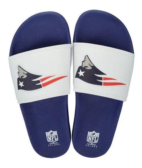 Chinelo New England Patriots Slip On Colors Branco - Nfl