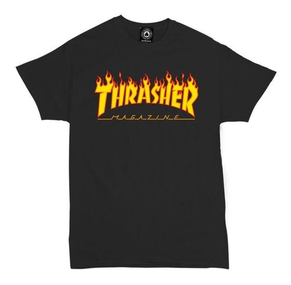Remera Thrasher Original Flame Negra