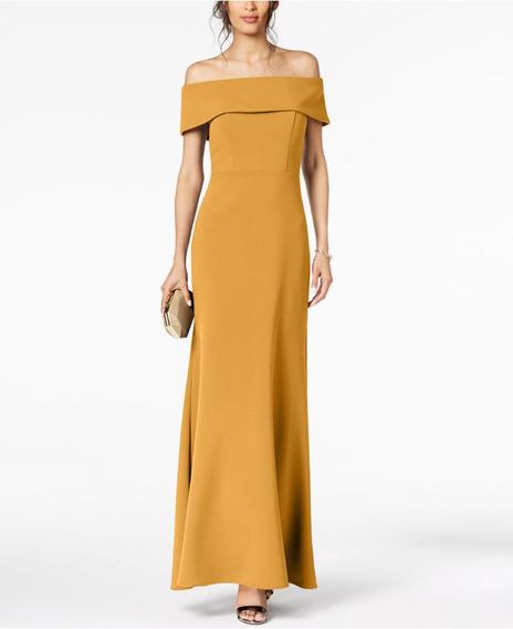 Vestido Largo Sin Hombro Amarillo Varias Tallas