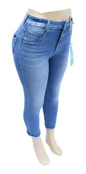 Calça Jeans Feminina Sawary Super Lipo Cintura Alta + Cinta