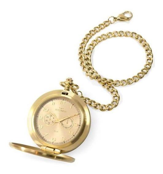 Relógio De Bolso Technos Ref: Vd77ac/4x Classic Dourado