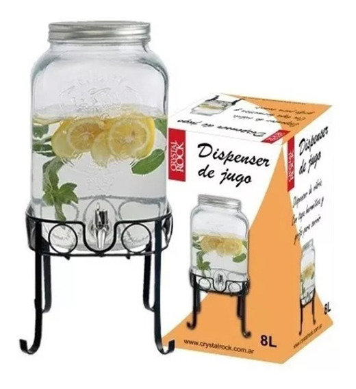 Frasco Crystal Rock Dispenser Canilla 8 Lts Con Soporte