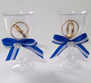 Lembrancinha Casamento Tacinha Aliancinhas Azul Royal 150 Un