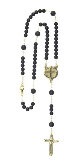 Colar Terço De Pescoço Medalha Duas Cruzes Cor:ouro Velho