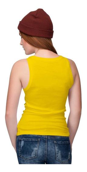 Camiseta Lisa Regata Femina 100% Algodão Todas As Cores