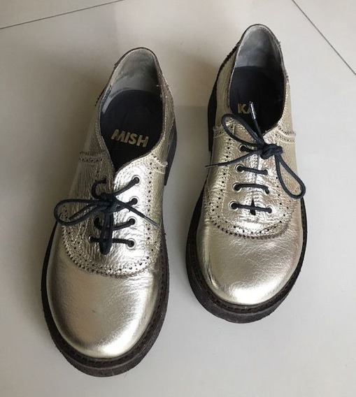 Acordonados Zapatos Dorados Mishka Talle 39 Mujer