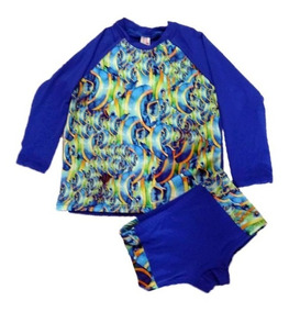 Kit Bebé 2 Camisas, 1 Sunga E 1 Chapéu Com Prot. Uv Upf 50+