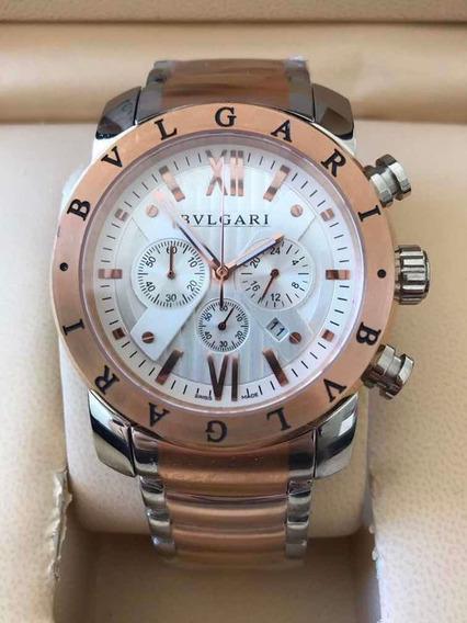 Relógio Masculino Bullgari Misto Prata E Rosé Fundo Branco