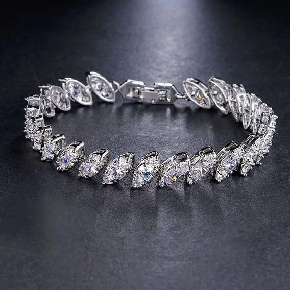 Bracelete Para Festa Prata Com Zircônia Gota Noiva Debutante