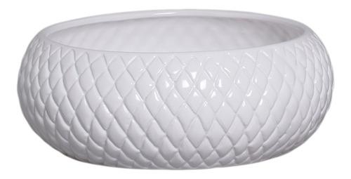 Cachepot De Cerâmica Branco Boca Larga G 11,3 X 30,2 Cm
