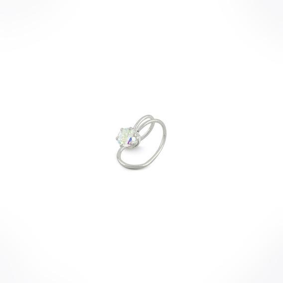 Arete De Clip Ear Cuff Plata 925 Con Zirconia No Perforacion