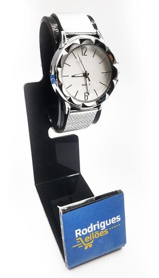 Relógio Feminino Pulso Efeito Metálico Prata Glamour Quartz