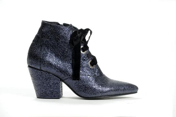 Zapato Mujer Botineta Acordonada Natacha Crash Azul #582