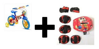 Bicicleta Infantil Aro 12 Nathor + Kit De Proteção Capacete