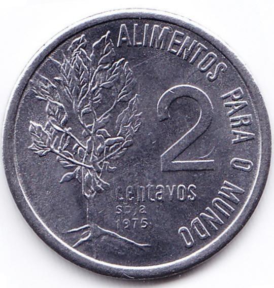 Brasil Moneda 2 Centavos Acero Inoxidable 1975 Fao Unc