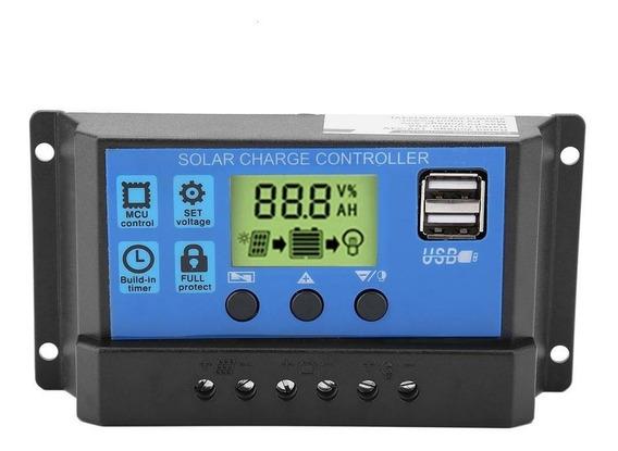 Controlador De Carga Solar 10a Lcd Usb Regulador Automatico